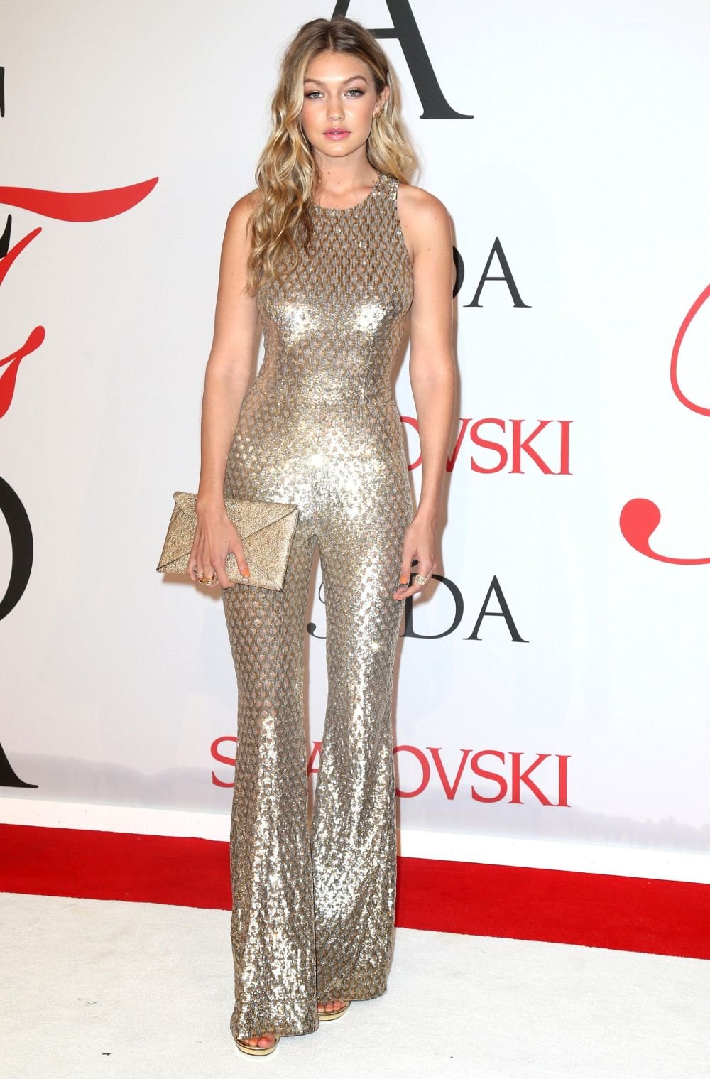 152126c604c Gigi Hadid in gold Michael Kors at the CFDAs  1970s glam or dated fug