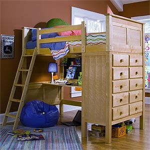 Kenai Loft Bed with Study Desk x2 for my boys (no longer available at costco).  TH: something like this where the dresser is at the foot and accused from outside.