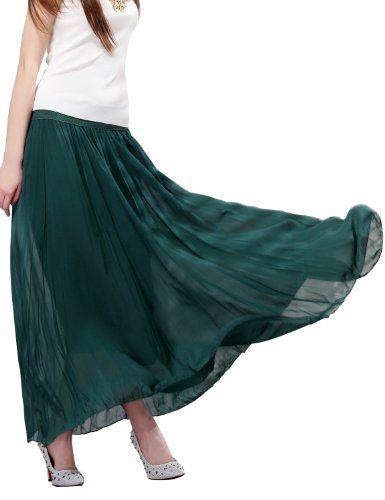6dd7b2d58e Maxchic Women's Elastic Waist Flowing Solid Pleated Maxi Skirt  X10750Y14C,Green,Large Maxchic http
