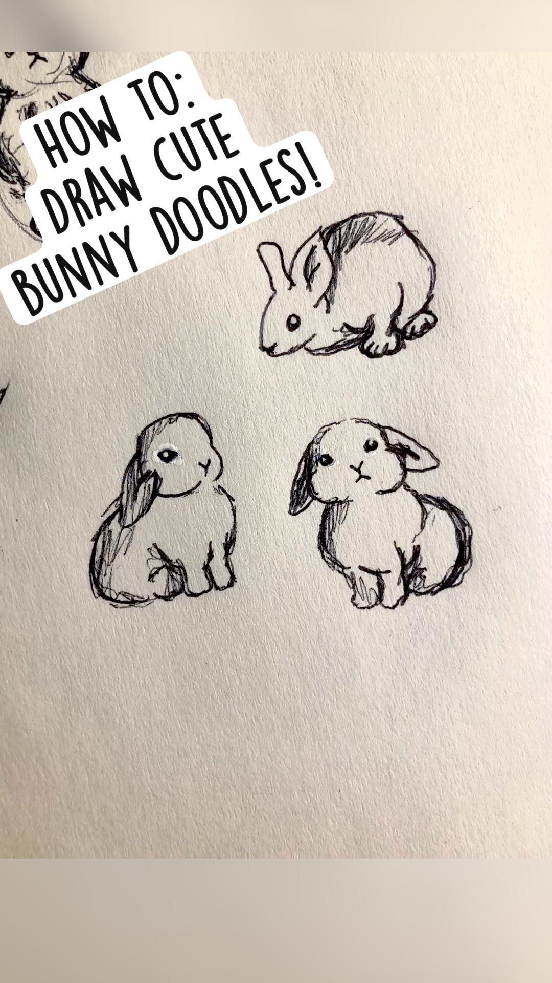 How to:  Draw cute  bunny doodles!