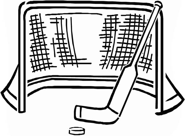 Goal and Puck and Stick in Hockey Coloring Page NetArt