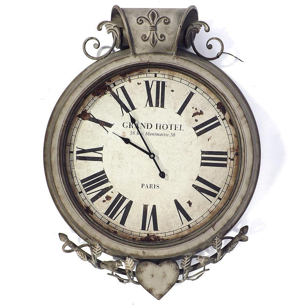 Relógio de Parede Top Grand Hotel Paris Flor Lis Oldway - Metal - 85x65 cm