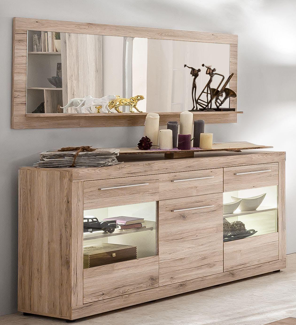 Sideboard Mit Spiegel Sandeiche/ Weiss Woody 10-10 Holz Modern