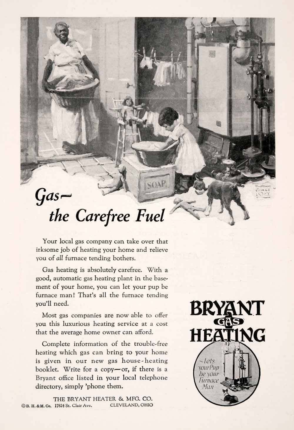 1927 Ad Bryant Gas Heating Cleveland Heater Furnace Soap Wash Maid
