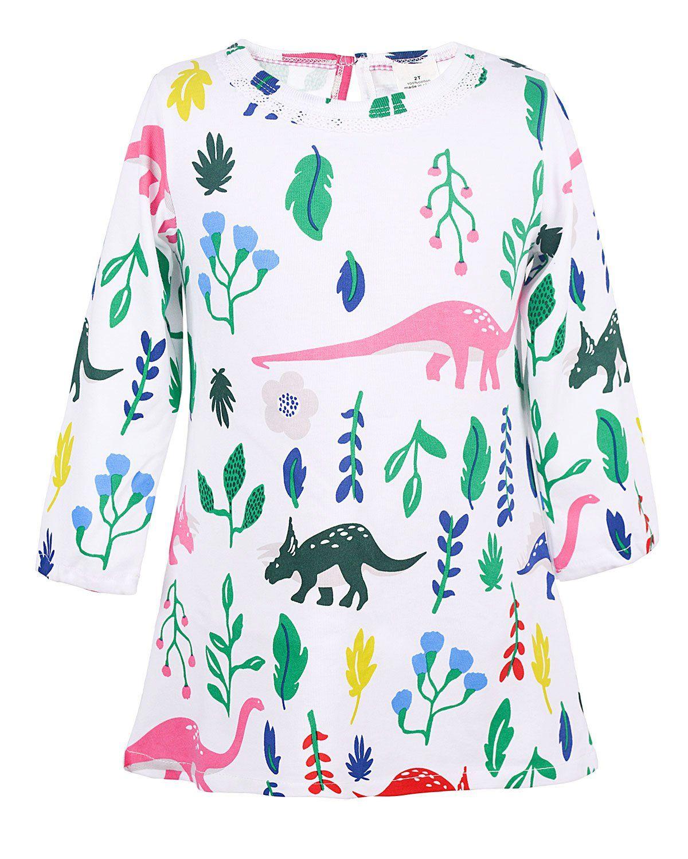 Angel Tribe Girl Long Sleeve Printed Dress Casual T Shirt Nightgown Cartoon Dinosaur 100 Cotton 4t Mater Long Sleeve Print Dress Girls Long Sleeve Night Gown [ 1500 x 1200 Pixel ]