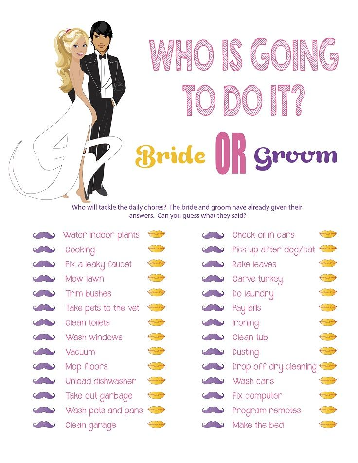 couples bridal shower game