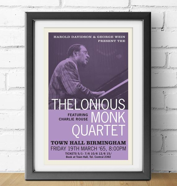 Digital Print Thelonious Monk 1965 Jazz Gig Poster 11 X 17 Download Print Frame Yourself Wall Jazz Poster Concert Posters Digital Prints
