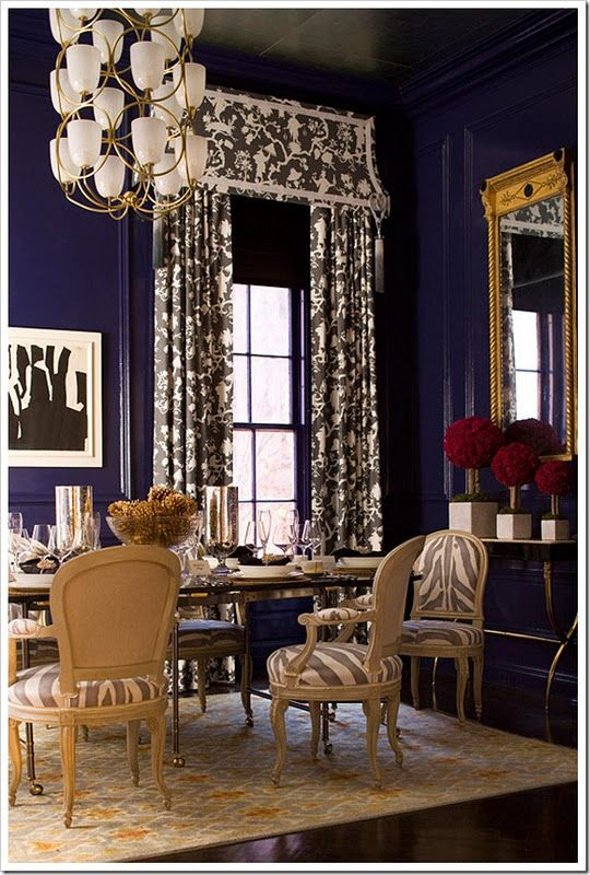 Navy...dramatic dining room