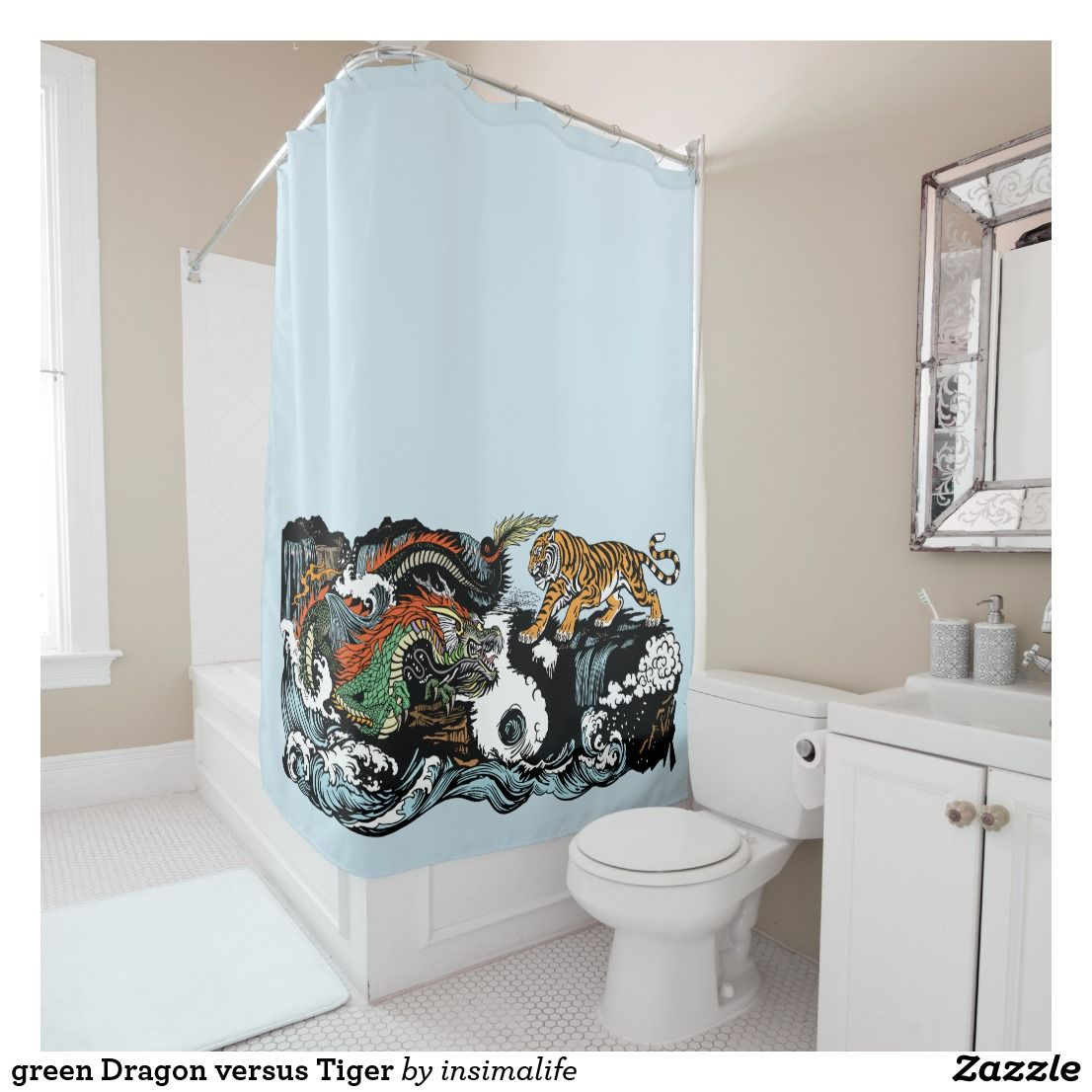Green Dragon Versus Tiger Shower Curtain Zazzle Com Green