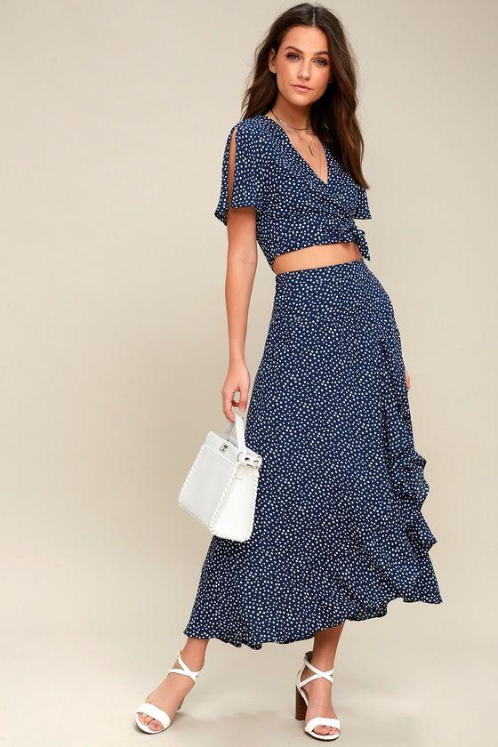 f6002951ecc Girl Like You Navy Blue Polka Dot Two-Piece Maxi Dress