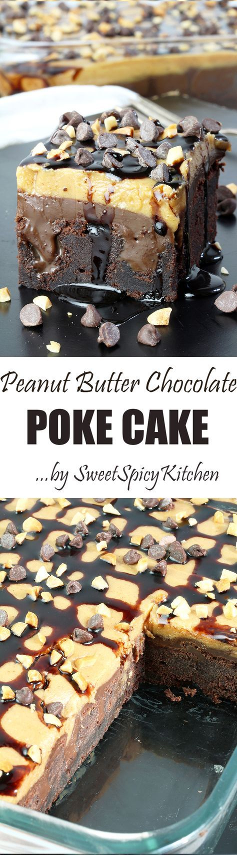 Here is the recipe for perfectly tasty Peanut Butter Chocolate Poke Cake. It takes a special place in my cookbook #chocolatepeanutbutterpokecake
