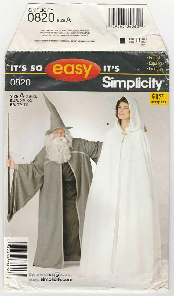 Simplicity 0820 / 2094 Cosplay Costume, Cape and Hat or Hooded Cape ...