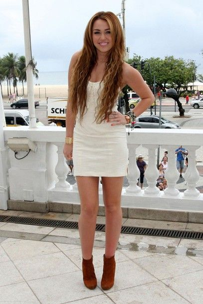 Dress: white dress, mini dress, long hair, booties, miley cyrus ...