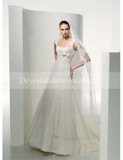 Encantador Linha-A/Princesa Quadrado Cetim Cauda Longa Vestidos de Noiva