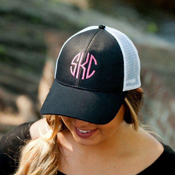 d2727dbd905d0 Black Trucker Hats Monogrammed Baseball Hat Christmas Gift for Her ...