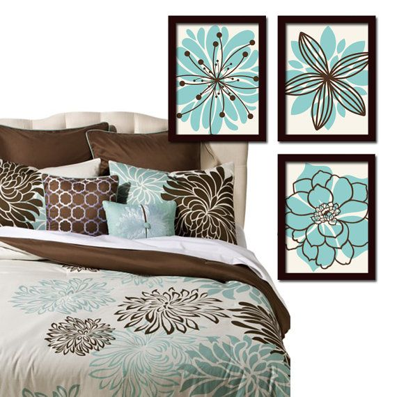 Teal And Brown Wall Art aqua brown wall art- bedroom canvas or prints bathroom artwork