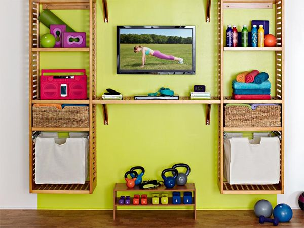 wonderful home gym ideas with wall tv stands. I like the utilized ...