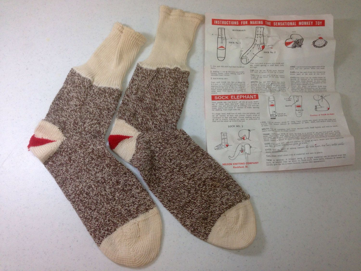 Vintage Sock Monkey and Sock Elephant Instructions with one pair of ...
