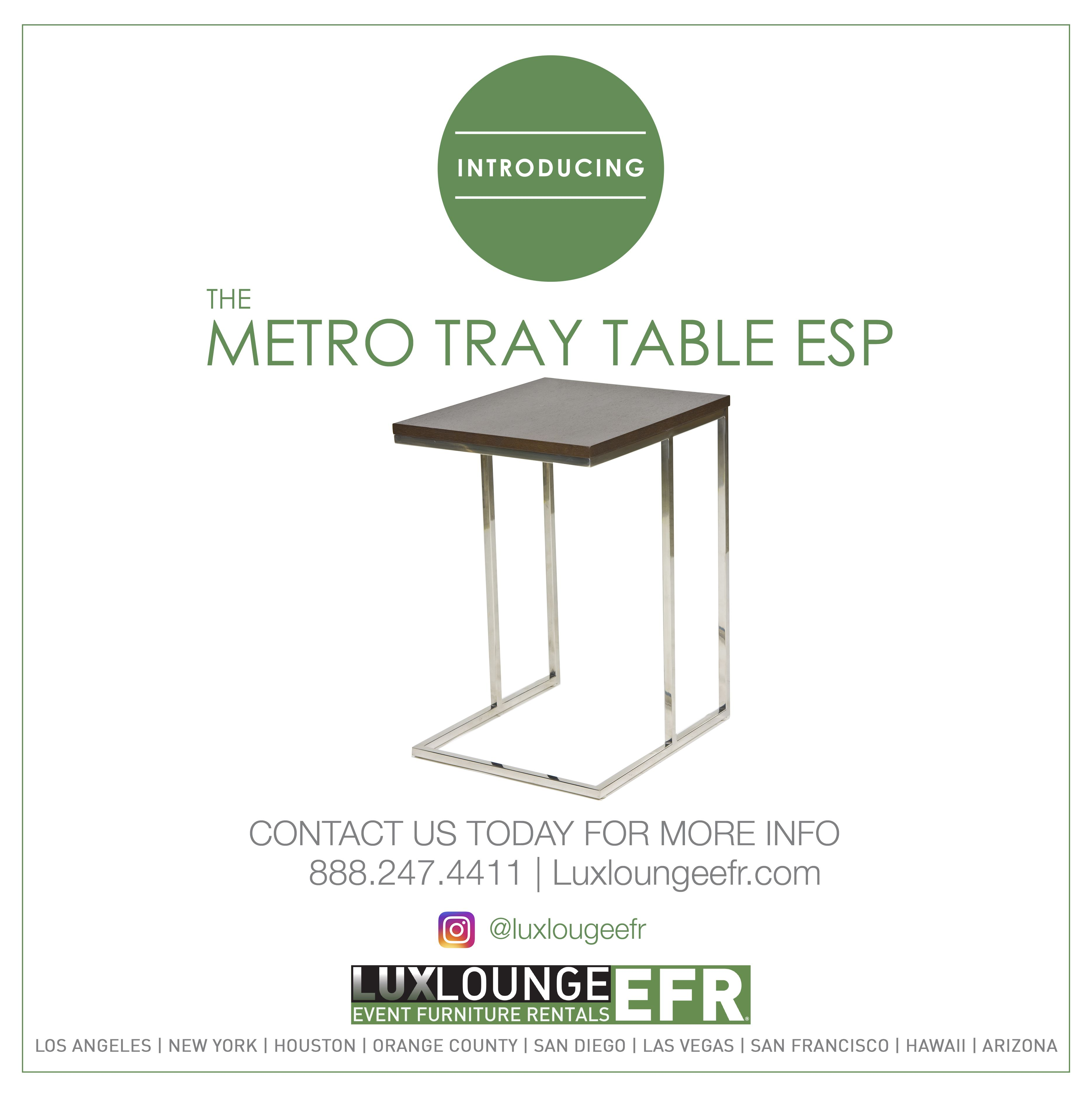 Metro Tray Table Esp Furniture Design Luxury Rental