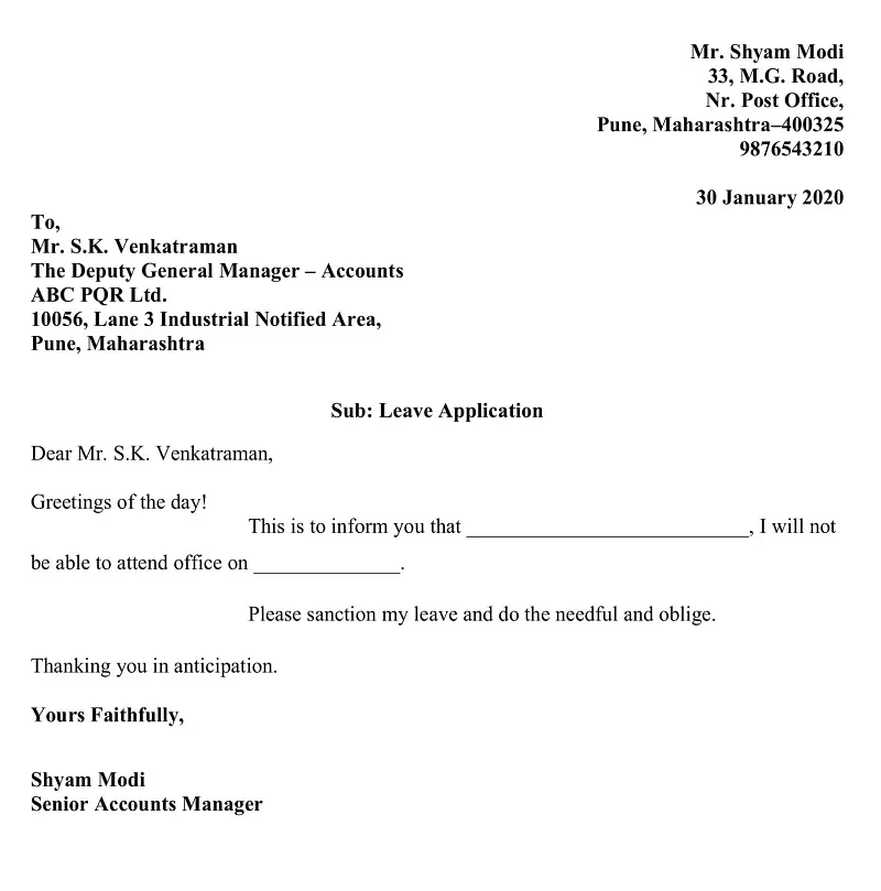 Download Casual Leave Application Excel Template Letter