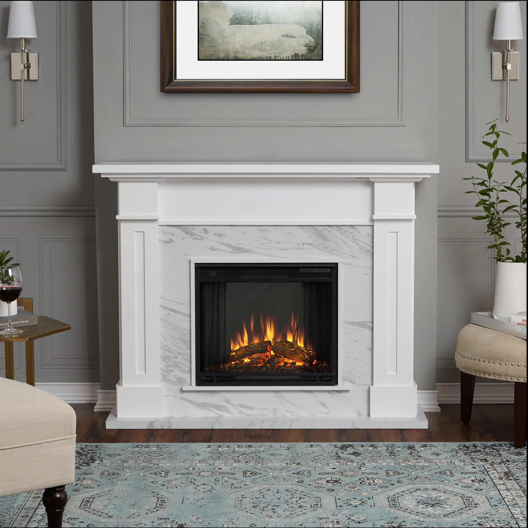 Real Flame Kipling Indoor Electric Fireplace White Marble In 2020