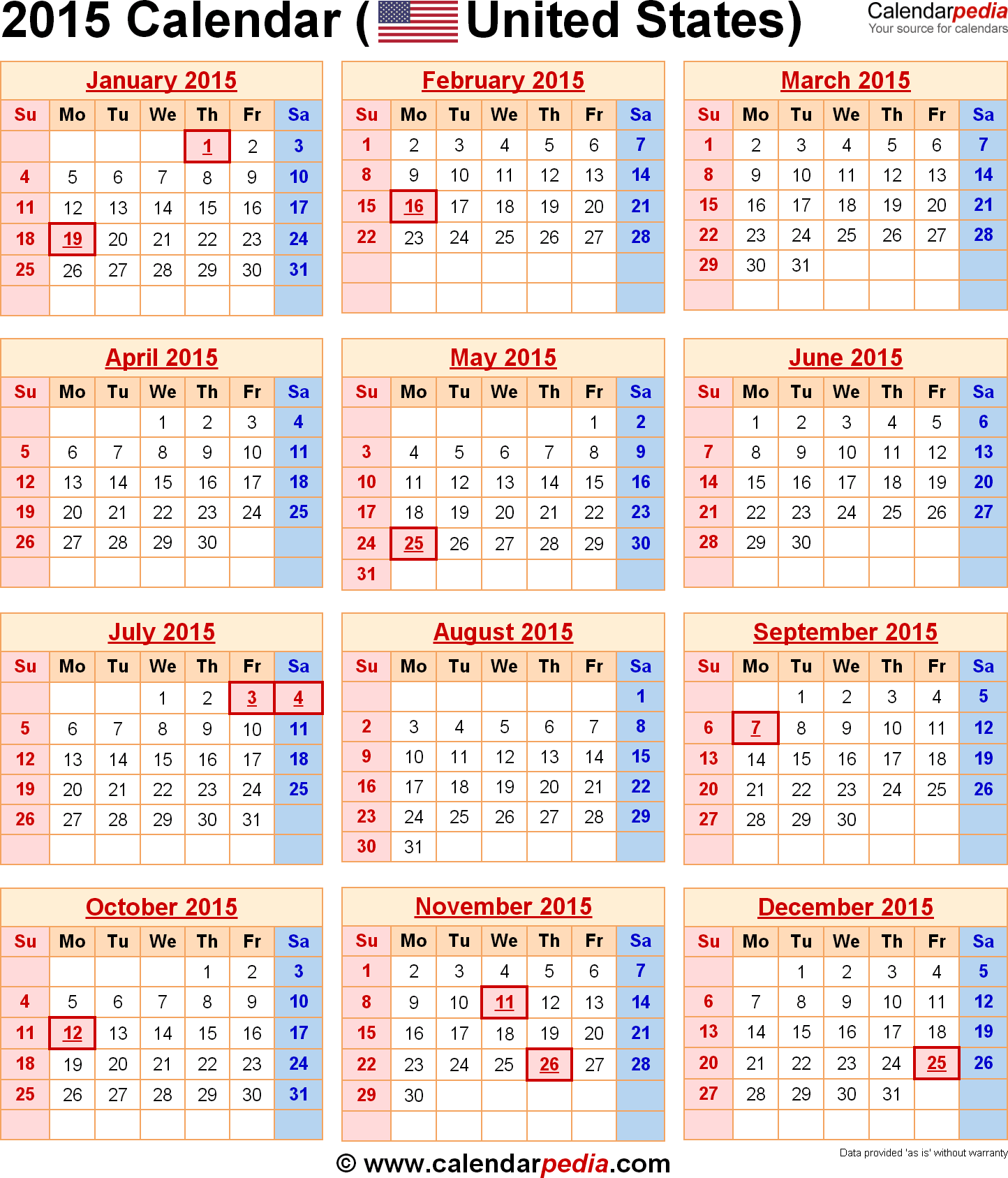 2015 calendars | 2015 calendar with federal holidays & excel/pdf