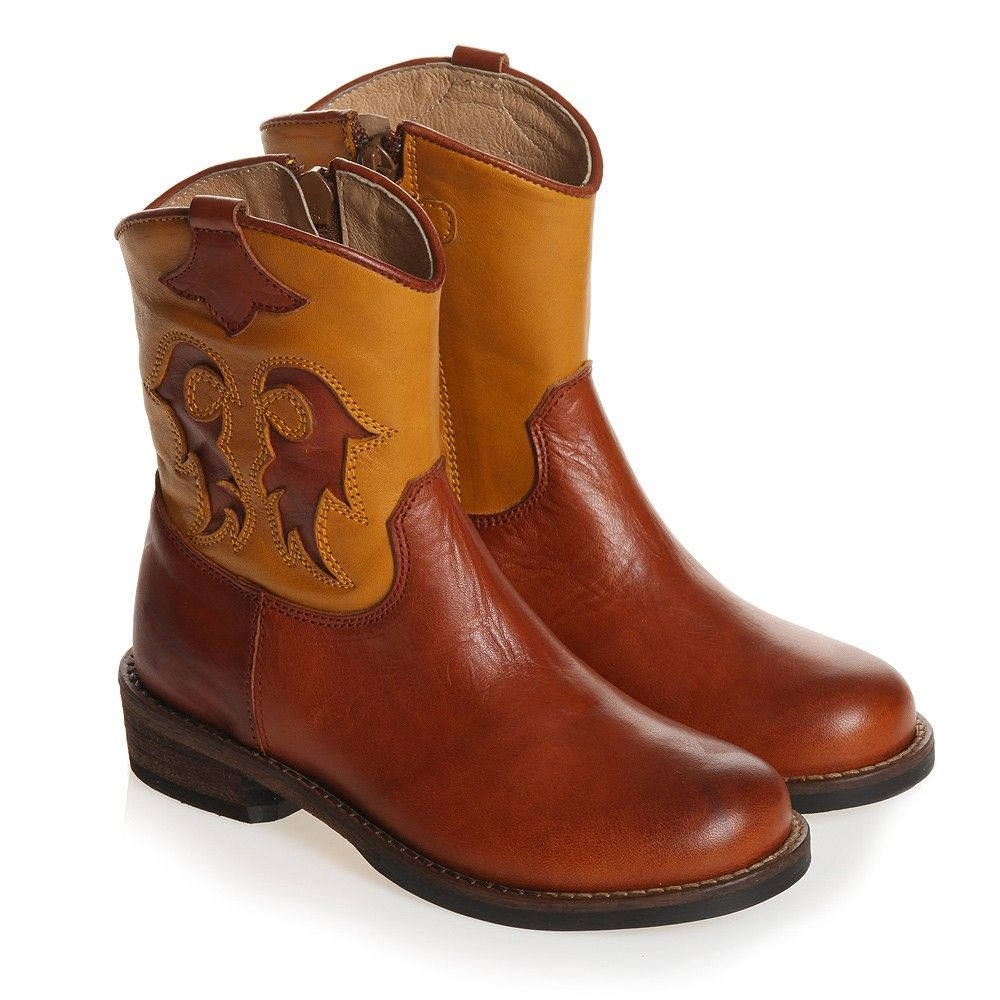 Girls Brown Leather Cowboy Boots Gallucci