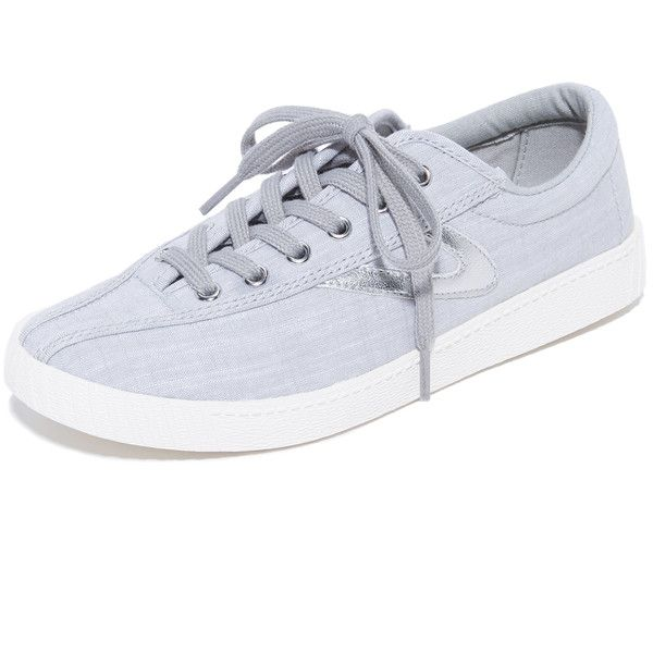Tretorn Nylite Plus Linen Sneakers ($70) ❤ liked on Polyvore featuring shoes, sneakers, metallic sneakers, tretorn, lace up sneakers, metallic shoes and metallic lace up shoes