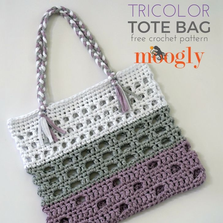 Tricolor Tote Moogly Free Crochet Crochet And Weekly Newsletter