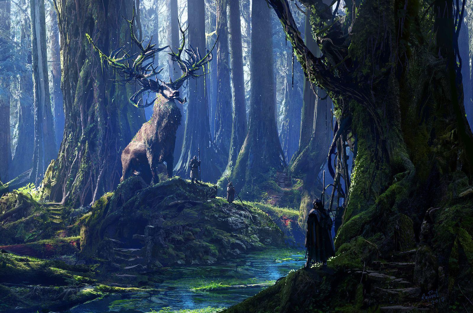 Cernunnos and his Druids, Raphael Lacoste on ArtStation at https://www.artstation.com/artwork/RZgGv
