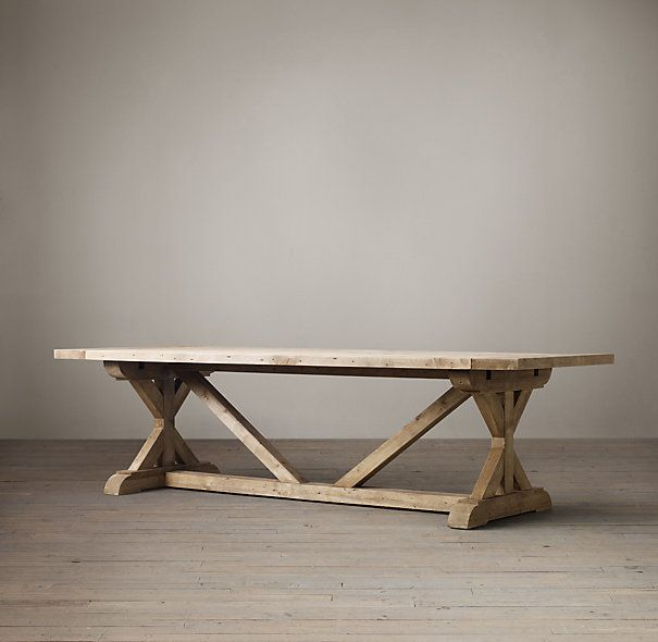 RHs Salvaged Wood X Base Rectangular Extension Dining TableOur Beam Tables Are Handcrafted Of Unfinished Solid Pine Timbers From
