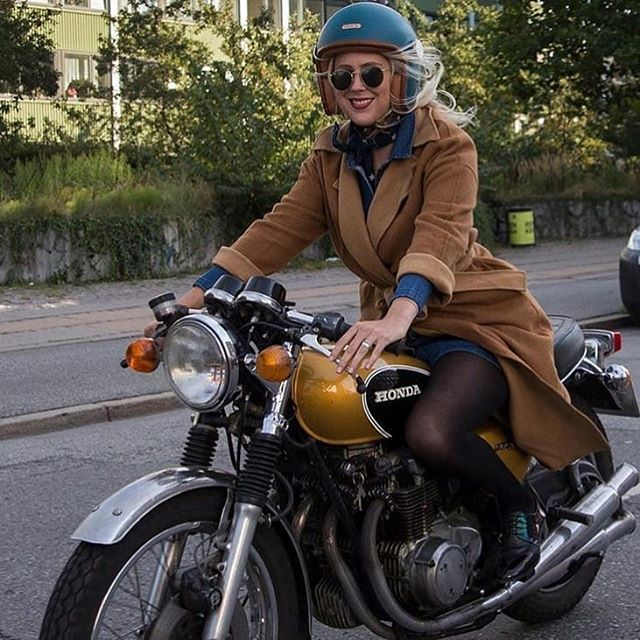 """Moto Femmes on Instagram: """"One of the benefits of wearing an open face helmet for urban riding is the increased visibility on the busy street oh and they really stand…"""""""