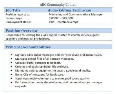 Audio Editing Technician Job Description Executive Assistant Job Description Job Description Executive Assistant Jobs