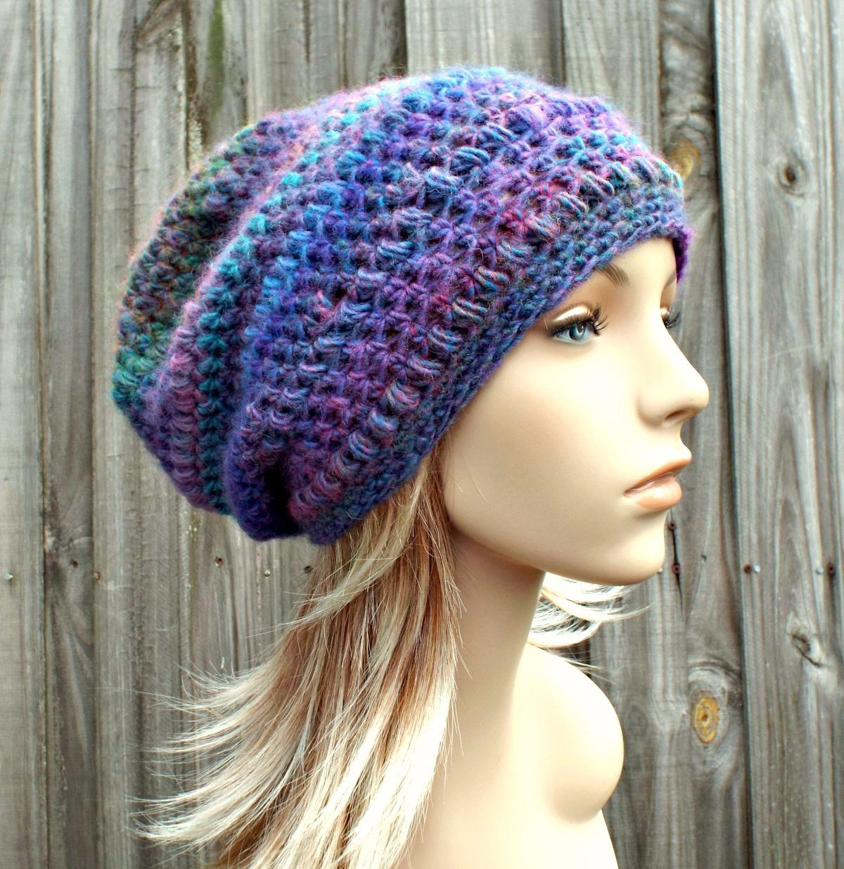 dce527192a0c70 Crochet Hat Womens Hat - Penelope Puff Stitch Slouchy Beanie Hat - Blue  Pink Mauna Loa - Blue Hat Blue Beanie Winter Hat - READY TO SHIP by  pixiebell on ...