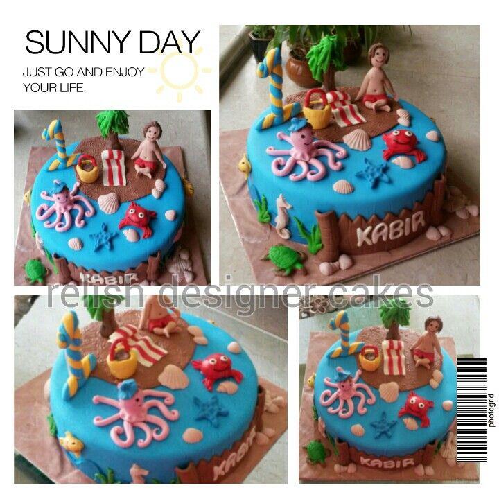 Beach Themed Cake For A Boy S 1st Birthday Party Beach Themed