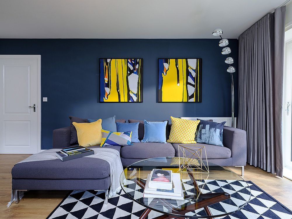 Contemporary Living Room In Blue With Pops Of Yellow Blue Living Room Decor Yellow Living Room Yellow Decor Living Room