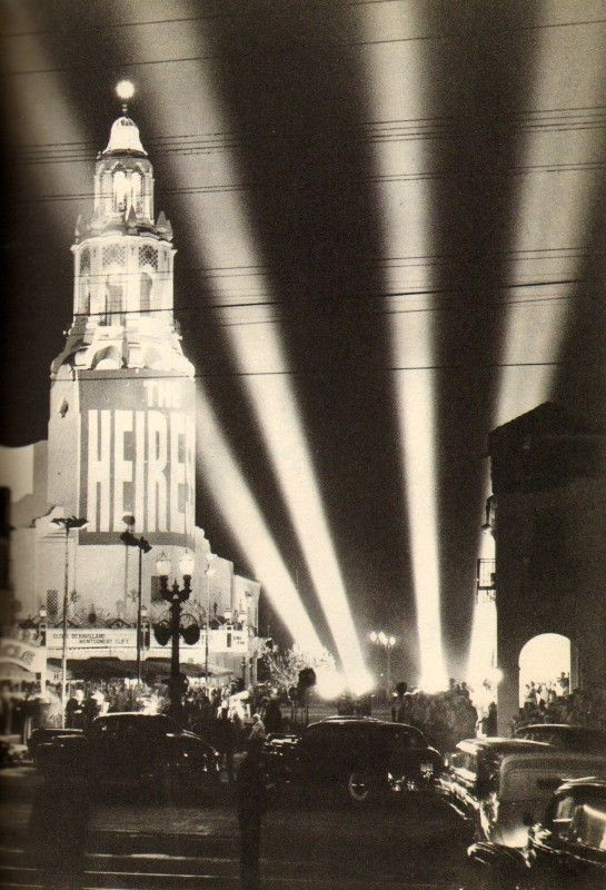 "The Carthay Circle Theater in 1949 for the opening of the Olivia de Havilland movie, ""The Heiress."""