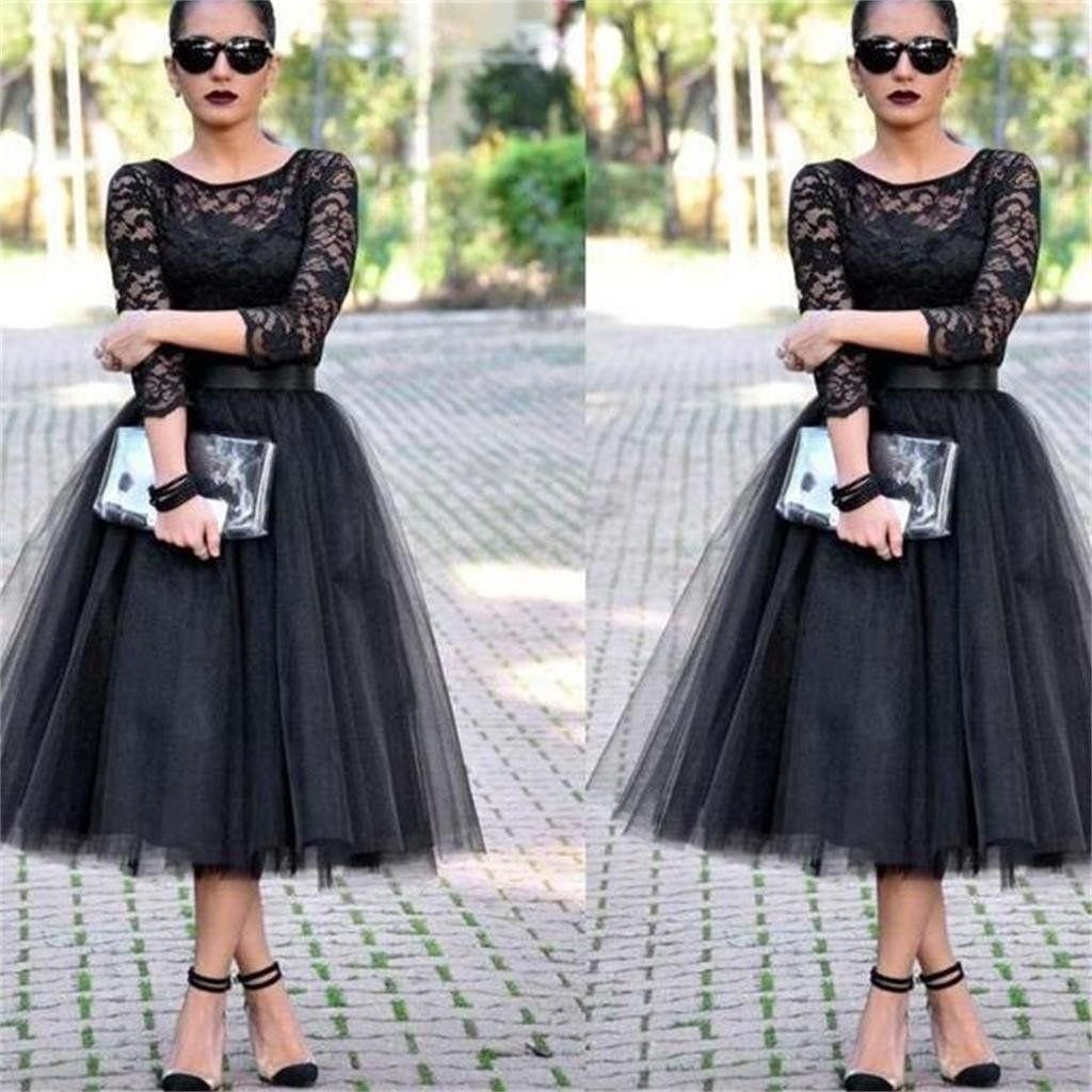 Lace Black A line Long Sleeves Evening Party Affordable Prom