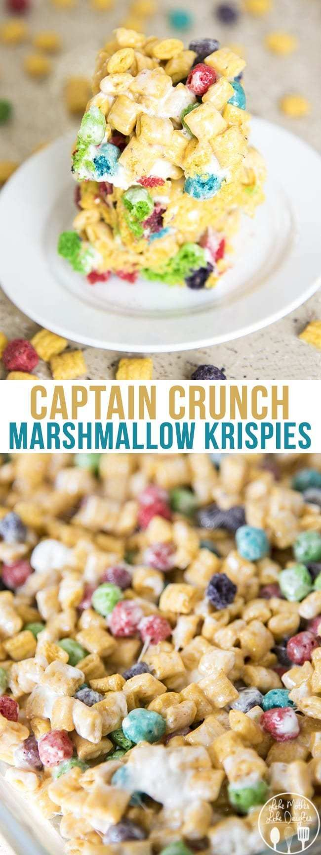 Captain crunch rice krispies are gooey cereal bars made with captain crunch cereal and marshmallows! They're the perfect snack for Cap'n Crunch lovers! #marshmallows