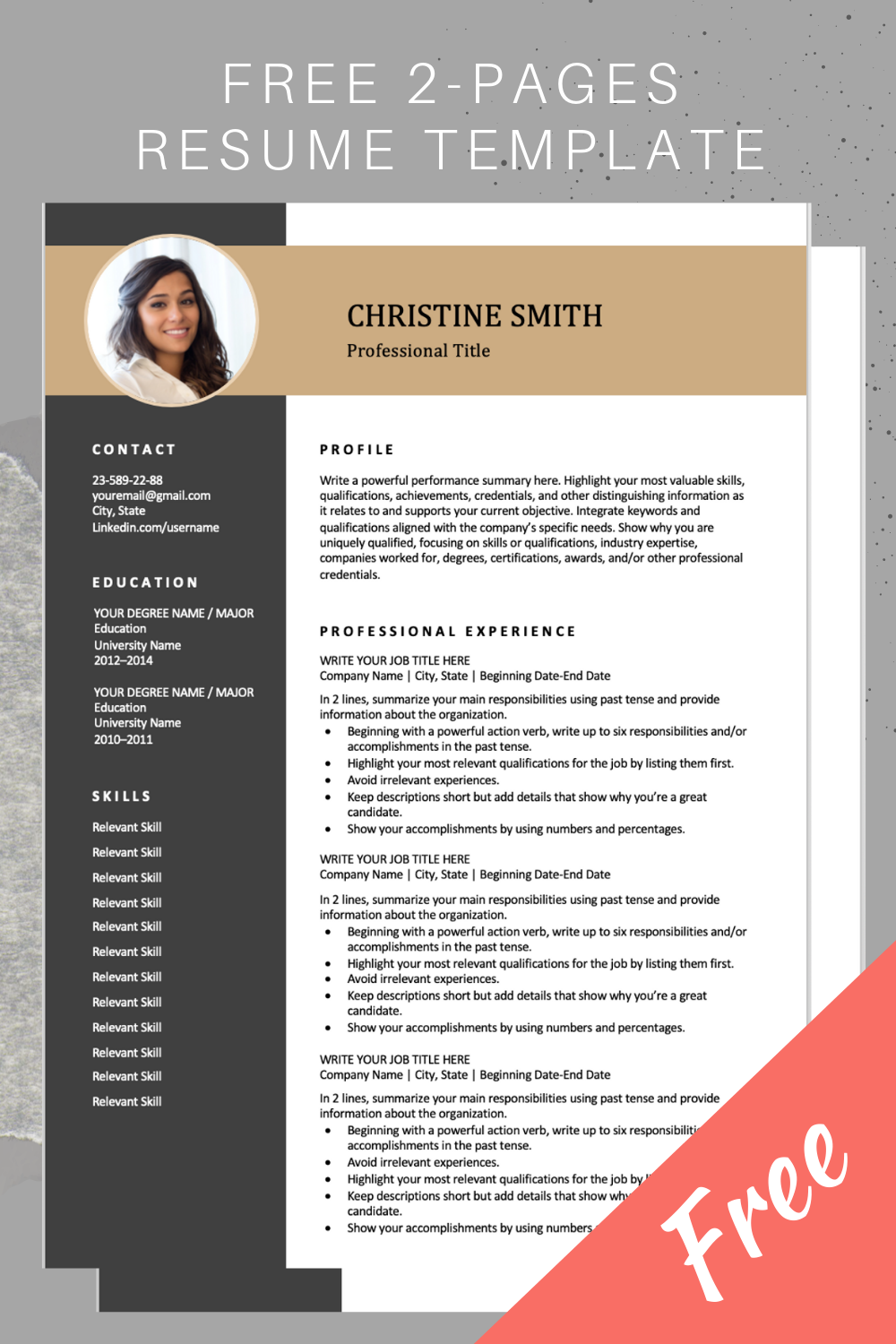 Free Resume Templates Resume template, Downloadable