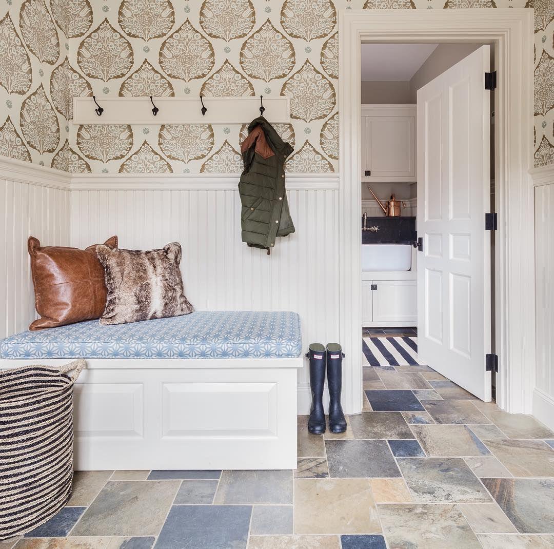 patternful Wallpaper interior design, Mudroom flooring