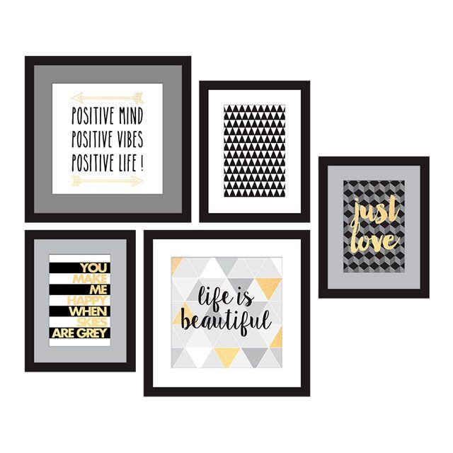 set d 39 images encadr es happy 54 x 49 cm. Black Bedroom Furniture Sets. Home Design Ideas