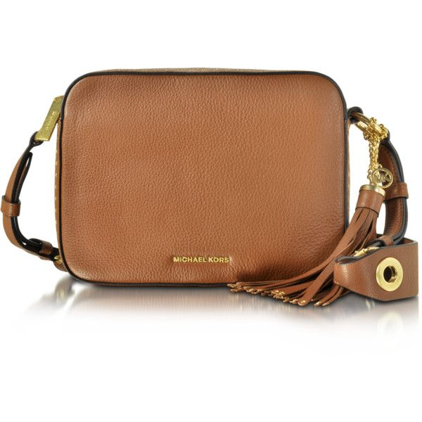 Michael Kors Handbags Brooklyn Large Luggage Leather Camera Bag... (685 NZD) ❤ liked on Polyvore featuring bags, handbags, shoulder bags, michael kors bags, camera bag, fringe tassel bag, brown leather bag and leather chain bag