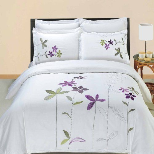 South Garden Embroidered 3 Piece Queen Size Duvet Set 100 Egyptian Cotton By Egyptian Cotton Factory Duvet Cover Sets Embroidered Duvet Cover Purple Bedding