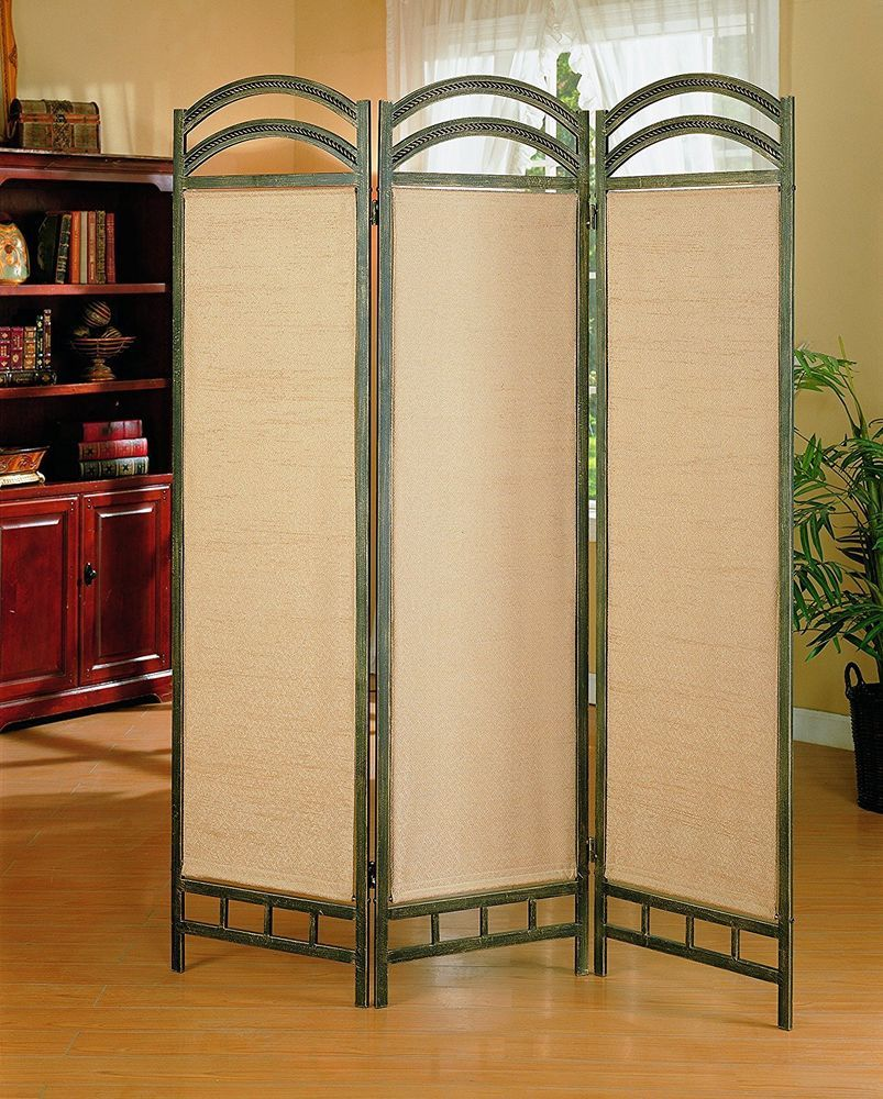 Vintage accent room divider panel privacy screen antique metal