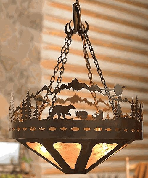 Bear family log cabin chandelier rustic pinterest for Log cabin chandelier
