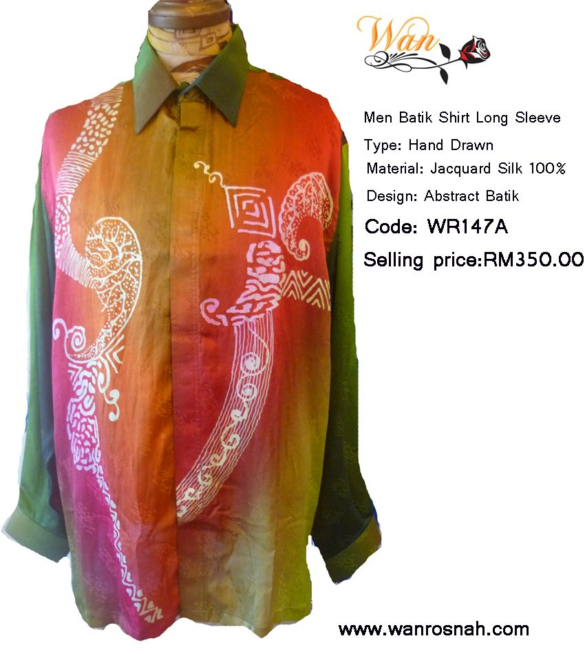 Batik Long Sleeve Shirt Hand Drawn in Jacquard Silk 100%. Smart wear and casual. Suitable for evening wear. Available from www.wanrosnah.com