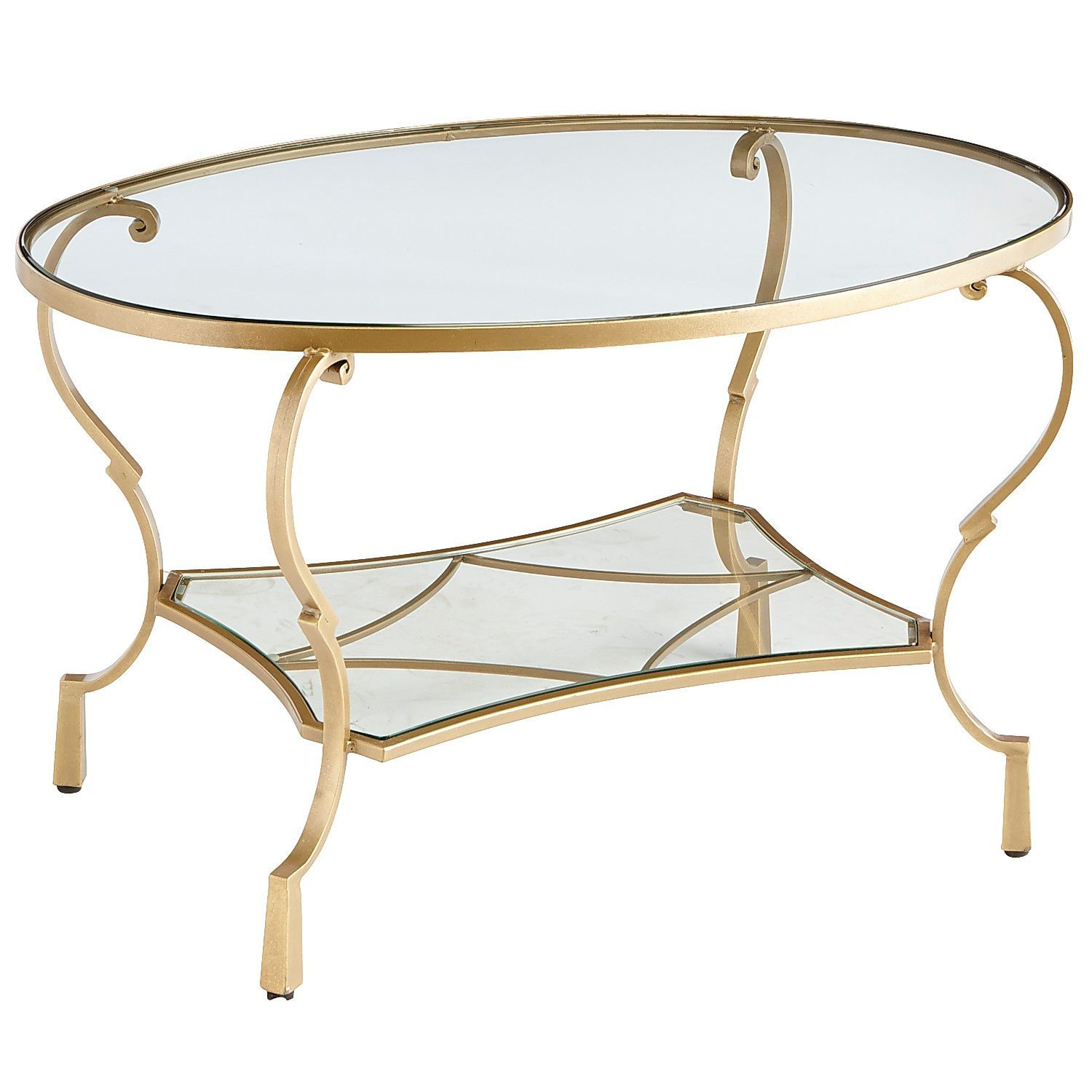 Chasca Glass Top Gold Oval Coffee Table Glass Top Coffee Table