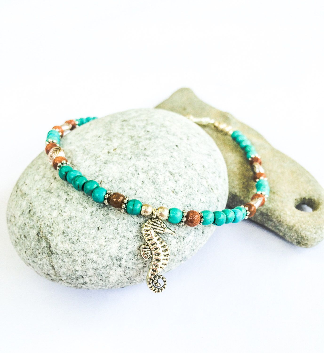 A personal favorite from my Etsy shop https://www.etsy.com/il-en/listing/277316714/seahorse-anklet-natural-stones-ethnic