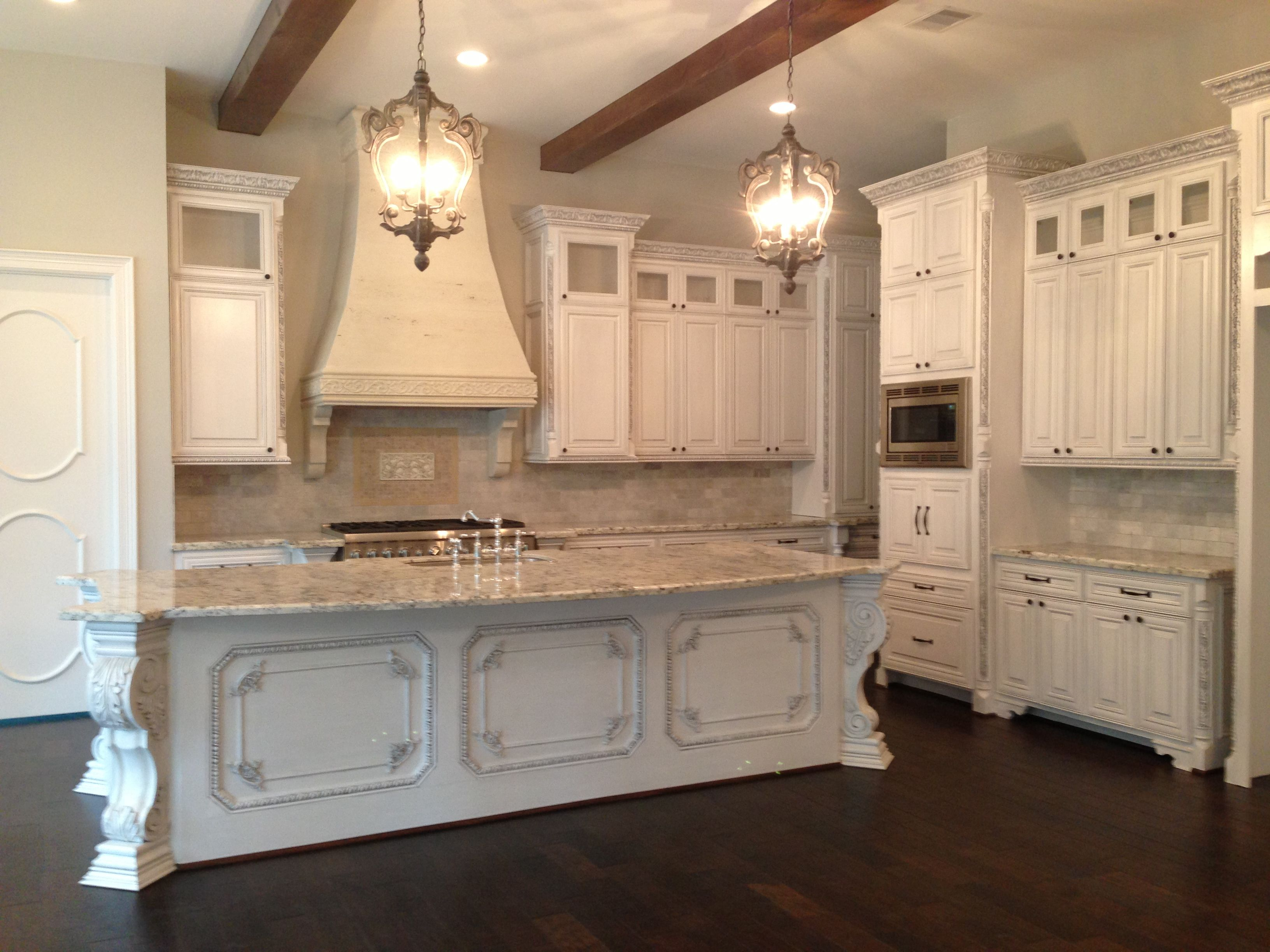 My Finished Kitchen A French European Acadian Inspired White Kitchen With Glazed Cabinets Old World Beams Stonce Cast Kitchen Design White Kitchen Kitchen